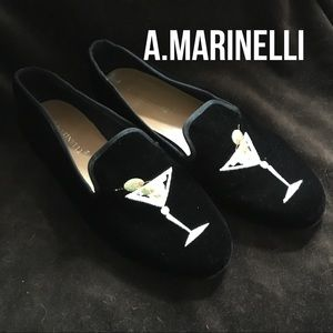 A.Marinelli velvet loafers, size 8.